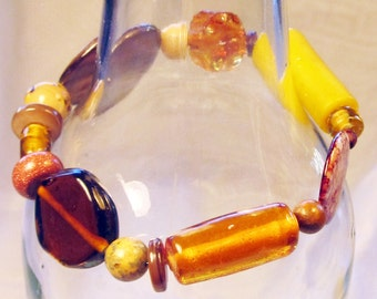 Mixed bead statement bracelet in yellows to browns (B28)
