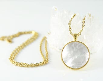Mother of Pearl Pendant-Pearl Pendant--Modern Pearl Jewelry
