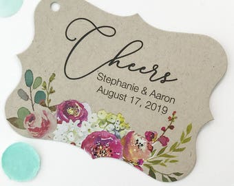 Penelope - Cheers Kraft Wedding/Engagement/Celebration/Event Hang Tags (EC-379-013-KR-WT-B)