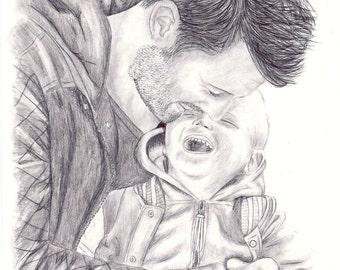 Custom Portrait, Hand drawn picture, hand drawn portrait, pencil drawing, custom portrait, portraits, custom pencil portrait, custom drawing