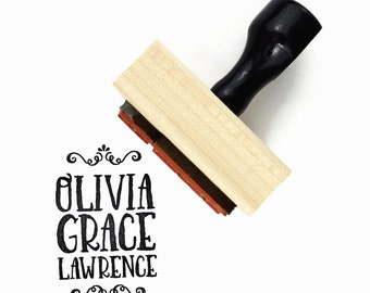 Custom Name Rubber Stamp (Three Lines)   Business or Personal Name Stamp   Branding Personalized Customized