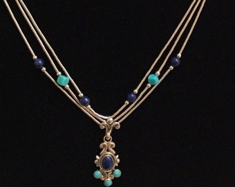 SALE 40% OFF Southwest turquoise Carolyn pollack sterling silver turquoise and lapis necklace