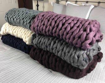 Light Gray Merino Wool Chunky Blanket Handmade