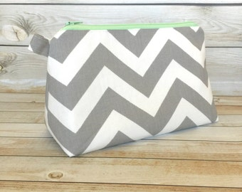 Grey Chevron Cosmetic Bag Zipper Pouch Makeup Bag, Makeup Zipper Pouch, Cosmetic Pouch Pencil Pouch