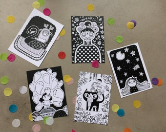 illustrated postcards (set of 5 pictures) black and white