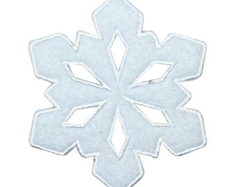 ID 8119 Christmas Snowflake Patch Snow Ice Crystal Embroidered Iron On Applique
