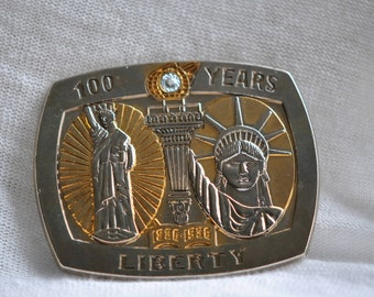 Statue of Liberty/Diamond 100 Year   Belt Buckle   1980 Vintage  #09746