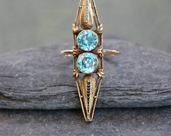 Victorian Cannetille Blue Zircon Ring in 14k Yellow Gold - JL683