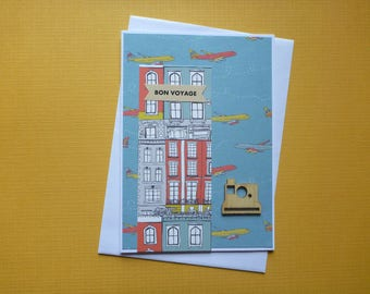 Bright Bon Voyage Card  FREE SHIPPING