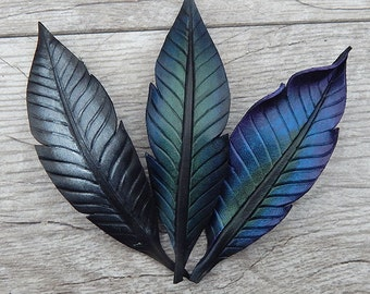 Corvidae Leather Hair Barrette - Iridescent Crow, Raven, Magpie Feather - Made in France, French Clip - Choose Your Color - Long Hair Gift