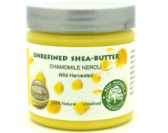Unrefined Chamomile Neroli Shea Butter for skin blemishes 120 ml / 4oz.