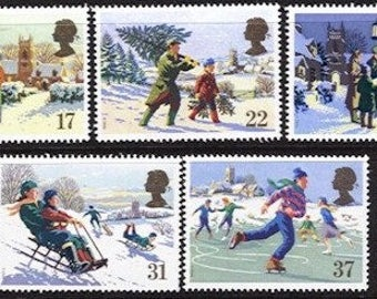Christmas British vintage unused mint postage stamp set 1990 GB. Craft art supply, Snowman, tree, carol singing, ice skating, scan enlarged