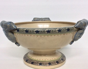 Vintage Large Handled Blue & Beige Pottery Decorative Bowl
