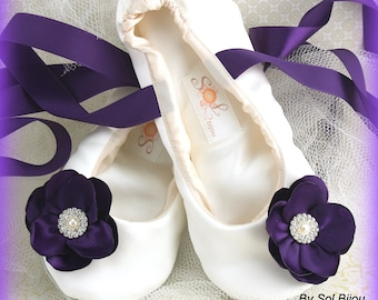 Wedding Ballet Flats Shoes Ivory Purple Plum Satin Ballet Slippers with Ribbons Bridal Shoes with Flowers Elegant Vintage Flats for Brides