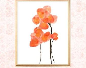 Poppy Watercolor Print, Watercolor Flower, Orange Poppy Print, 8x10 Print, Poppy Painting, Watercolor Poppy Print, Orange Wall Decor, Flower