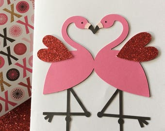 We Just Fit Flamingo Valentine's Day Card - Handmade