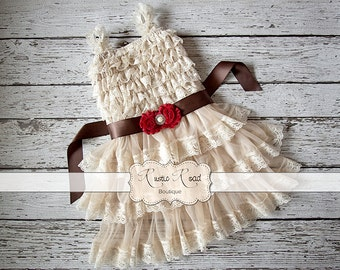 Ivory Lace Dress - Flower Girl Dress, Country Flower Girl Dress, Rustic Flowergirl Dress, Cream Lace Girls Dresses, Baby Girl Birthday Dress
