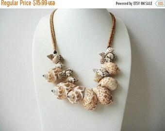 ON SALE Vintage Natural Shaped Dotted Leopard Shells Heavier Necklace 102916