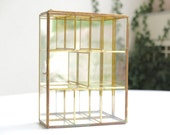 Vintage brass and glass display cabinet - small chest - jewelry box - wall cabinet display