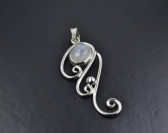 Rainbow Moonstone Sterling Silver Pendant