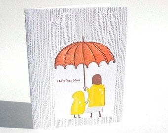 "A2 Rain "" I love you, mom  "" letterpress card"