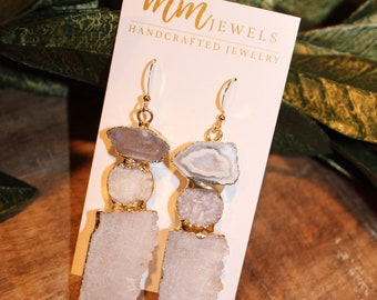 Quartz Gemstone Statement Earrings | Gemstone Statement Earrings