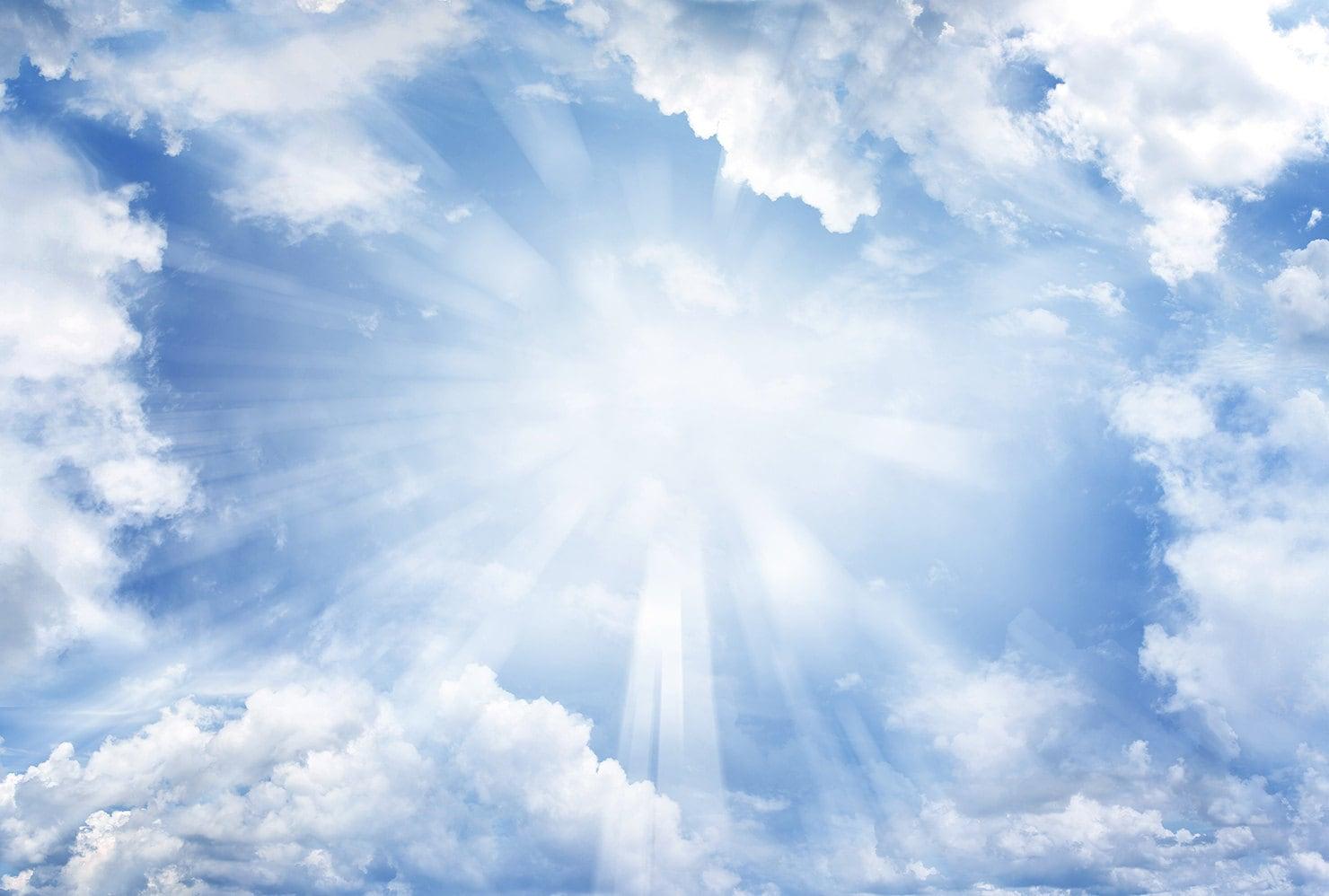 white cloud Backdrop blue sky sunshine hole Printed