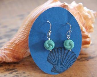 Vintage Glass earrings, glass earrings, teal earrings, blue earrings