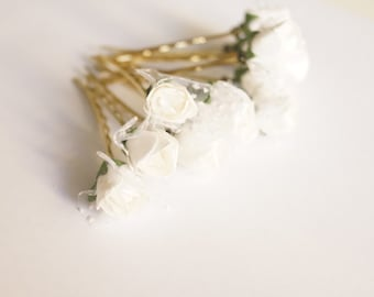 Bridal Hair Accessories, White Paper Rose, White flower Hair Bobby Pins- set 12