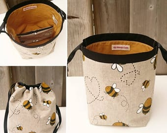 Bumblebee Print Linen Knitting Bag, Bee bag, Sock Knitting Project Bag for two at a time sock knitting - Sock sack