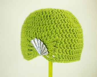 Flapper Girl Cloche Hat in Lemongrass Green - choose your brooch - crochet winter hats for women - winter hats for girls