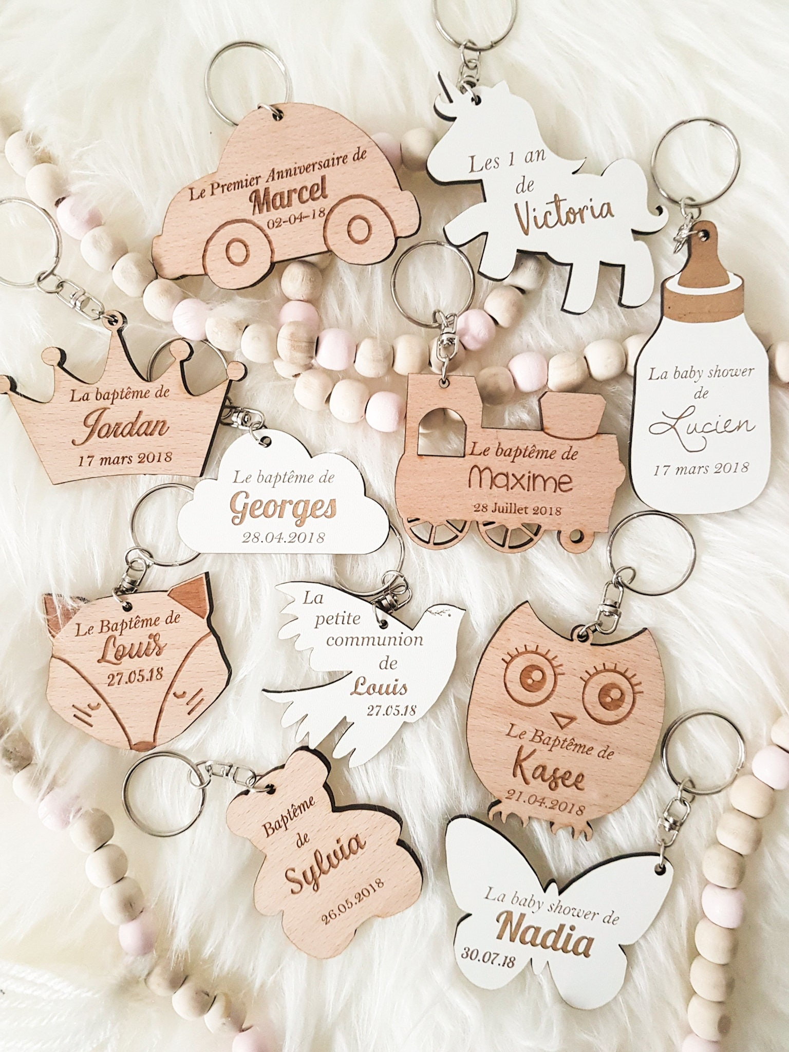 Baptism favors-personalised keyring-engraved keychain-cute