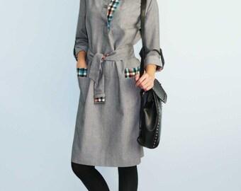 Gray dress Women's dress Dress with long sleeves Autumn dress Straight dress Plaid dress