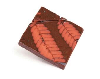 Fougère feuille aimant Fern Impression, aimant en céramique brun, carré aimant - automne décoration de l'aimant - céramique feuille fougère feuille marron
