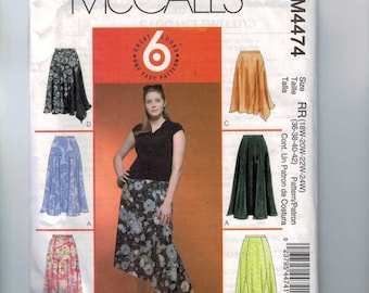 Womens Sewing Pattern McCalls M4474 4474 Misses Easy Long Skirt Hankerchief Hem Plus Size 18W-24W UNCUT