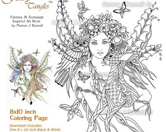 Forest Fairy Deer & Owl Fairy Tangles Adult Printable Coloring Sheets Norma J Burnell Coloring book page Fairies to Color Digital Coloring
