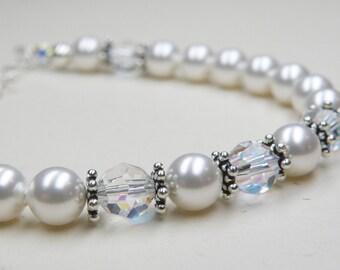 Classic White Pearl Bracelet, Swarovski Crystals, Sterling Silver, Bridesmaid Wedding Handmade Jewelry, Teen June Birthday, Birthstone