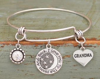 I Love You to the Moon and Back Grandma Adjustable Bangle Style Bracelet