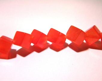 10 beads - cat eye glass cube 11 mm - orange-glass - F22 3 cube