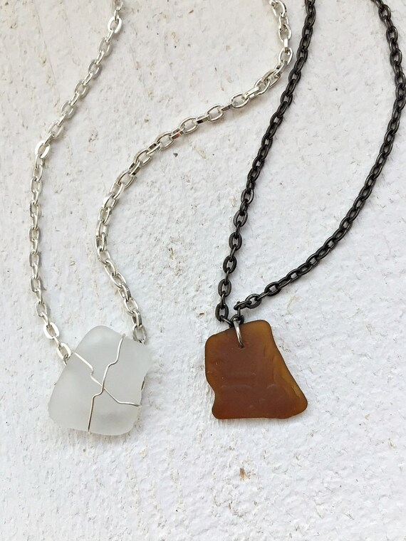 Brown sea glass choker necklace beach glass pendant vero brown sea glass choker necklace beach glass pendant vero beach florida minimalist jewelry mozeypictures Image collections