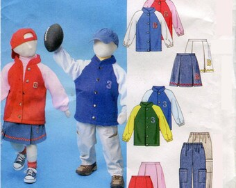 Boys Girls Team Jacket Pleated Skirt Cargo Pants Pattern McCalls M4583 Size 3 4 5 6 UNCUT
