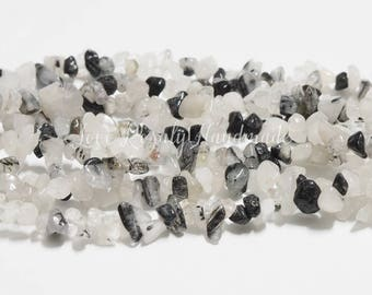 Black Rutilliated Quartz Beads  5 - 10 MM - 34 inches full stand