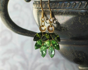 Green Vintage Swarovski Rhinestone Leaf Earrings