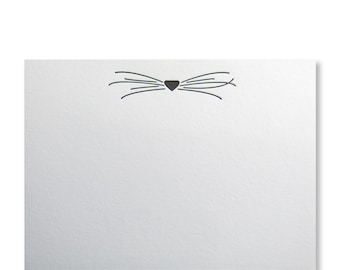 Letterpress Cat Whiskers Stationery