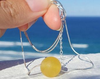 Amber Jewelry, Silver Chain And Yellow Baltic Amber Pendant Necklace, Minimalist Jewelry, Yellow Amber Ball Pendant Necklace, Gemstone Orb