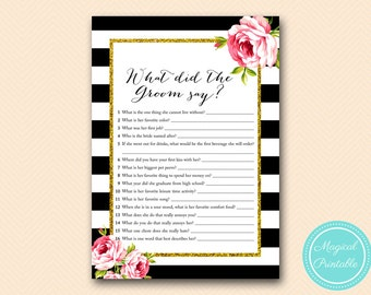 What did the Groom Say, What did he say about her, Newlywed Game, Black Stripes, Pink Floral Bridal Shower, Bachelorette Game BS10B BS10