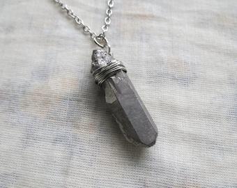 silver titanium quartz necklace