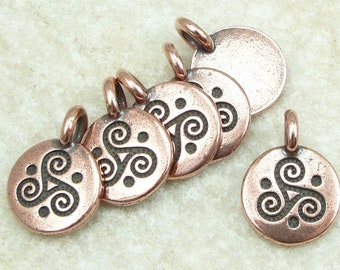 Tiny Celtic Spiral Triskel Antique Copper Pendant - TierraCast You Collection - Mini Silver Pendant Copper Charm for Yoga Jewelry (P1472)