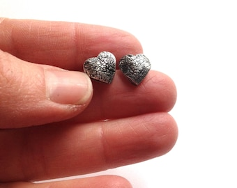 Dog Nose or Paw Print Heart Post Earrings in Fine Silver - Made to Order