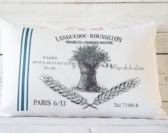 "Paris Grains - 12 x 18"" Lumbar Cushion Pillow Cover French Shabby Vintage Chic - UK Handmade"